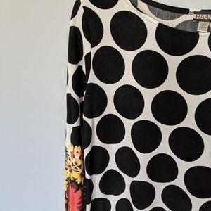 Haani Dresses - HAANI polka dot dress with floral border trim